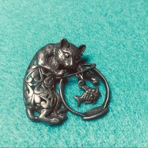 Jewelry - Vintage Sterling Silver Brooch Cat & Fishbowl